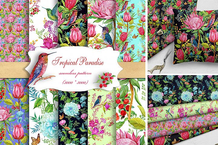 Hummingbird patterns,Digital Watercolor Seamless Patterns