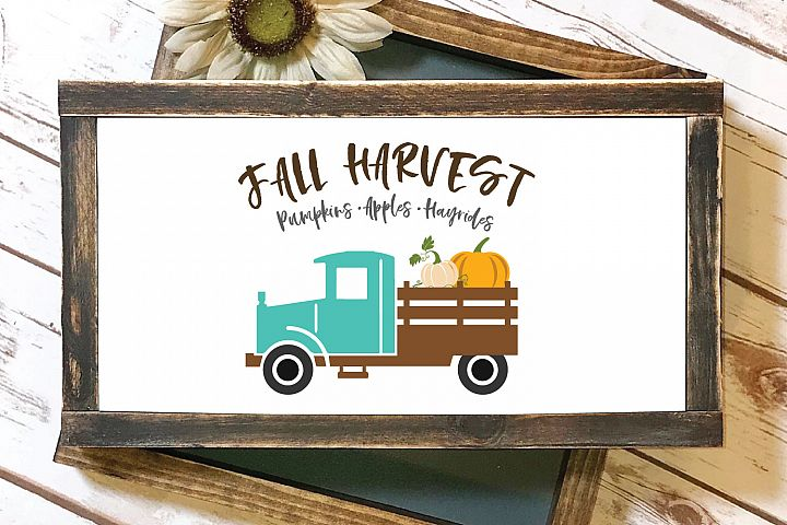 Fall Pumpkin Vintage Truck SVG and EPS Silhouette Files