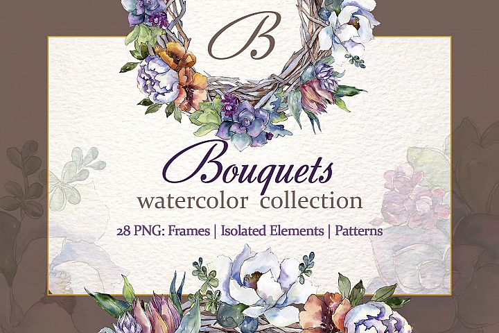 Bouquet Blooming meadow watercolor png