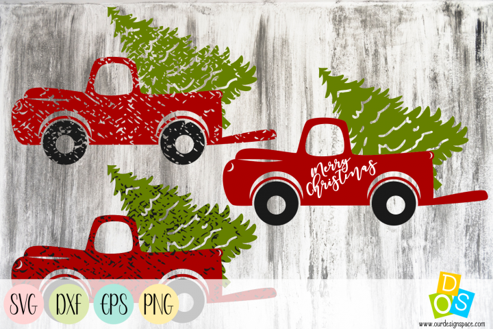 Christmas Truck SVG, DXF, EPS and PNG Files