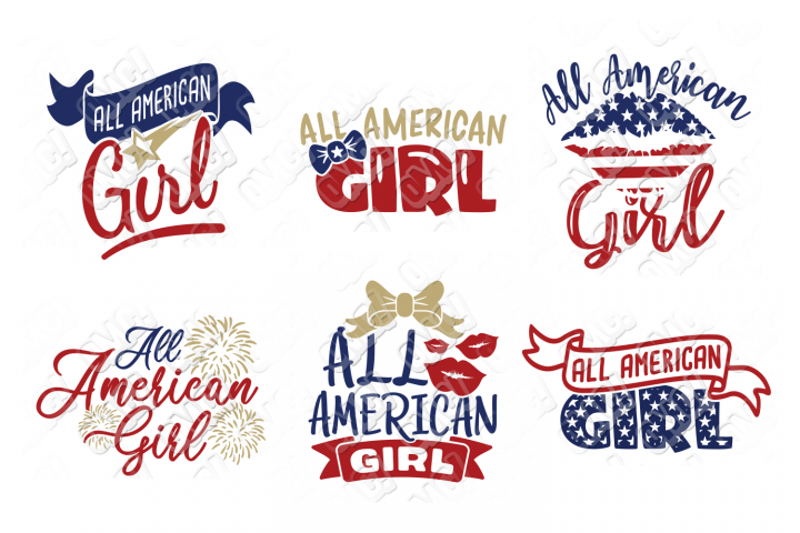 All American Girl SVG in SVG, DXF, PNG, EPS, JPEG