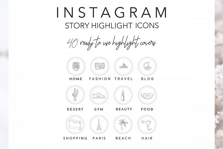 Instagram Story Highlights Icons, Set of 40 Hand Drawn Instagram Icons