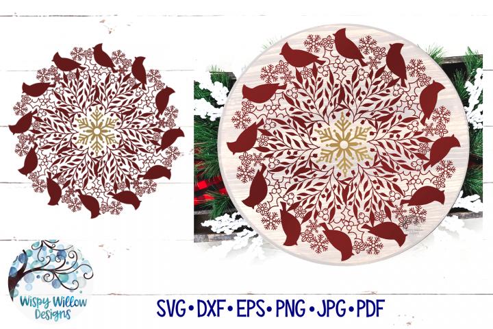 Winter Cardinal Mandala SVG | Christmas Mandala SVG Cut File