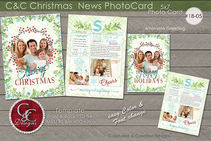Christmas Year End Review Photo Card With Monogram 18-05