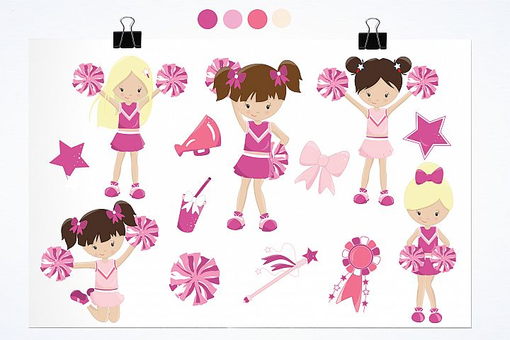 Cheerleaders graphics and illustrations - Free Design of The Week Design 1