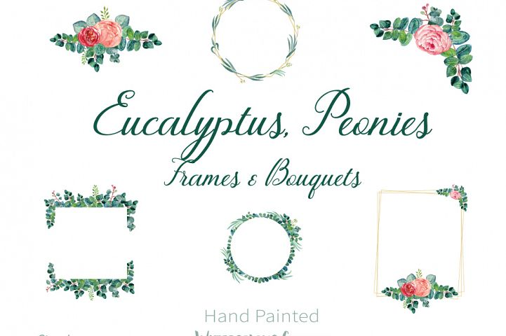 Eucalyptus and Peonies Frames Watercolor Clipart, PNG Isolated Files, Hand Painted Floral Illustration, Eucalyptus Frames, Peonies Frames