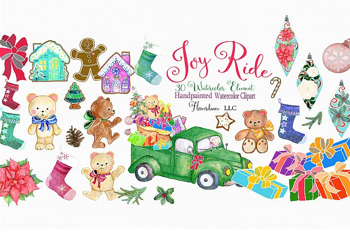 Watercolor Christmas 30 Elements, Bears, Stockings, Truck