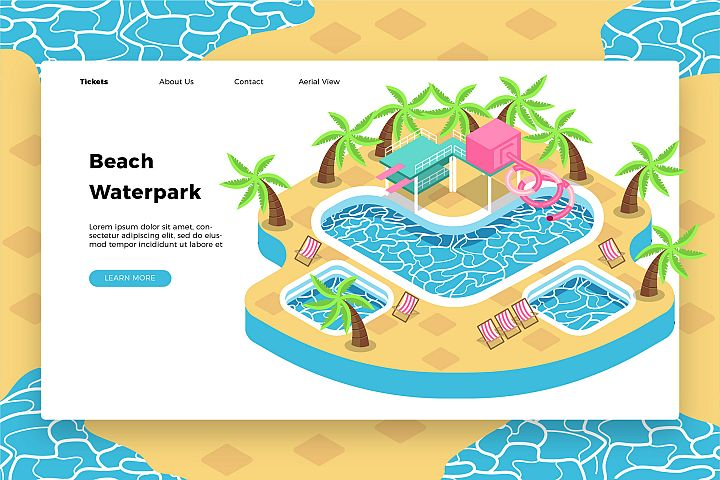 Beach Waterpark - Banner & Landing Page
