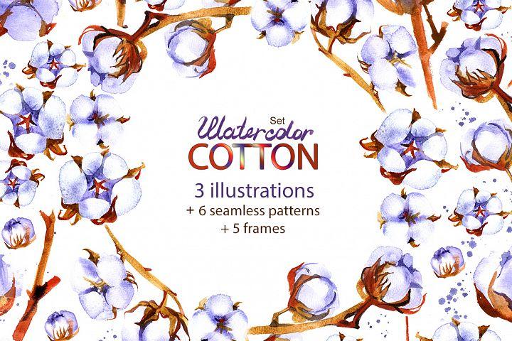 Watercolor cotton - floral set.