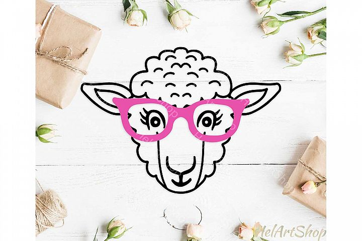 Sheep svg, Sheep with glasses svg, Farm animal svg, Cute