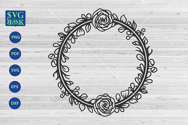 decorative Wreath svg, monogram circle frame, laurel svg