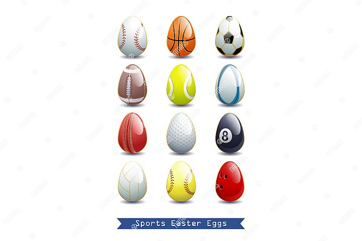 Collection of different Sports Easter Eggs.