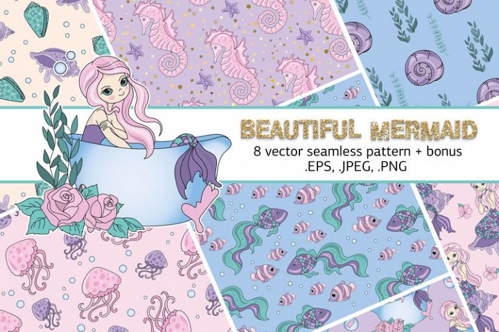 MERMAID SEAMLESS PATTERN Sea Vector Illustration Set