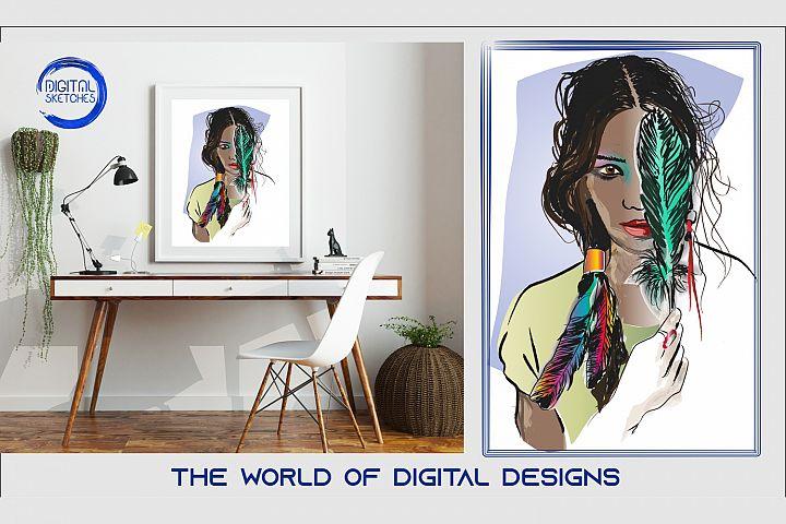 Printable Feather Boho Women Wall Art Print Poster