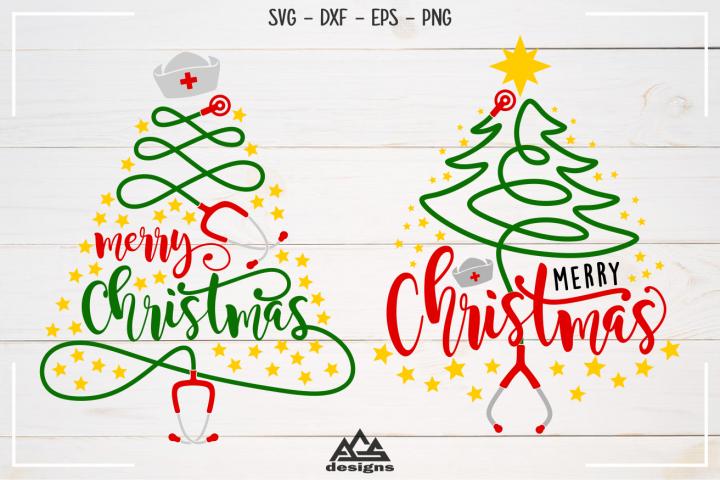 Stethoscope Nurse Christmas Tree Svg Design