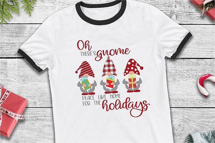Home For The Holidays SVG, Gnome Place Like Home SVG