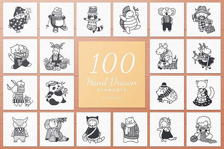 100 Hand Drawn Elements -Animals-