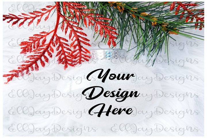 White Christmas Glitter Ornament Mock up