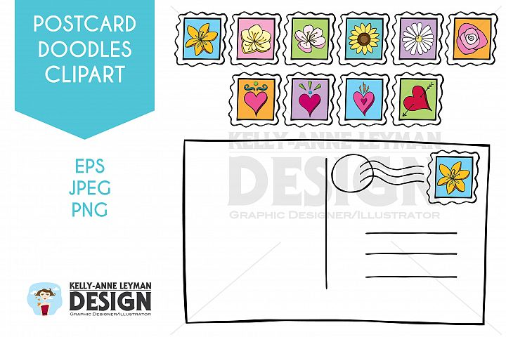 Doodle Postcard Postage Stamp Clipart, Hand drawn Flowers