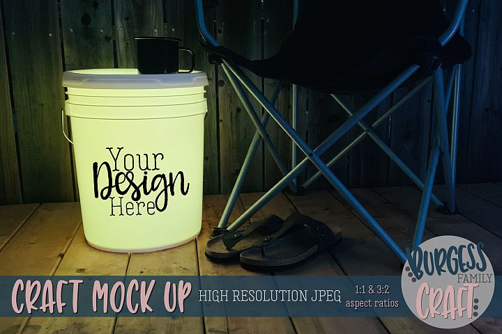 Bucket light table yellow Craft mock up|High Resolution JPEG