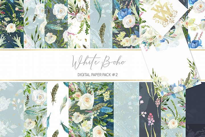 Boho chic digital paper pack, watercolor floral seamless
