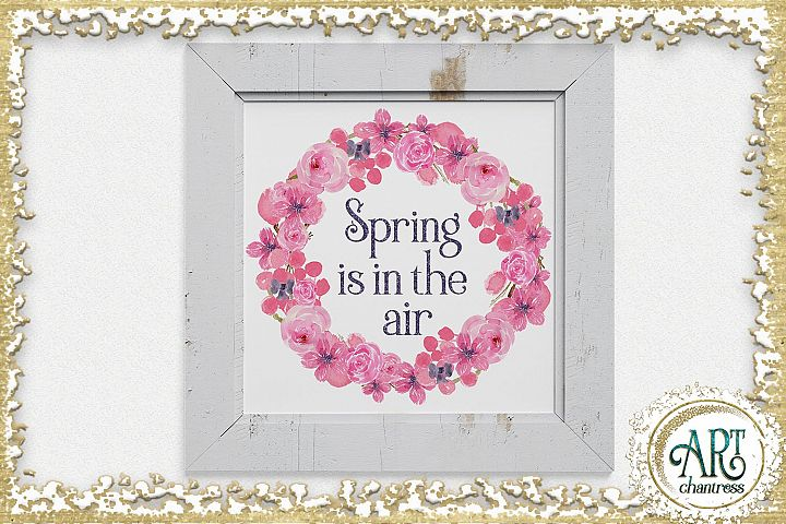 Watercolor Floral pink wreath - 2 arrangements example 5