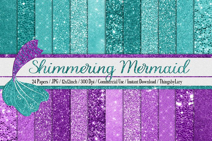 24 Shimmering Mermaid Glitter Sequin Chunky Digital Papers