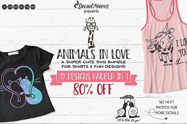 Animals in Love   Funny SVG Bundle