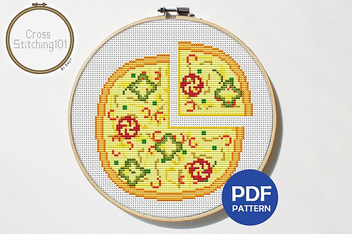 Pizza Cross Stitch Pattern - Instant Download PDF