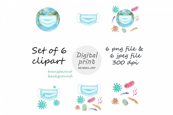 Set of 6 Medical Watercolor Clipart. Hand Painted Artwork.