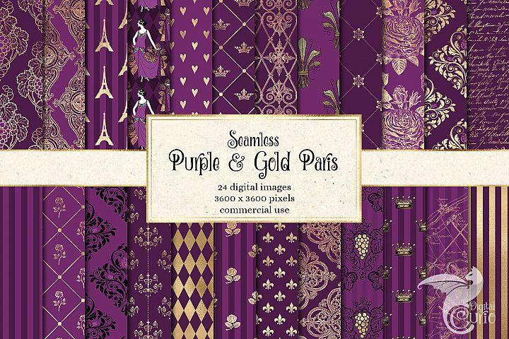 Purple and Gold Paris Digital Paper