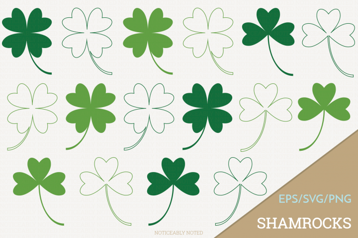 Shamrock Four Leaf Clover Vector / Clip Art