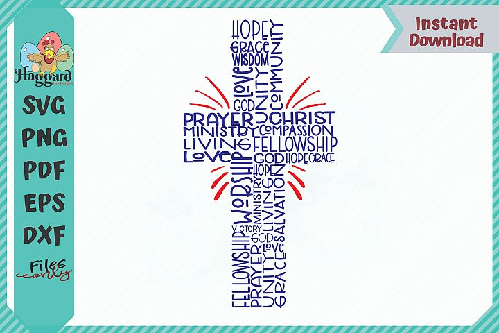 HHD Christian Cross With Words SVG