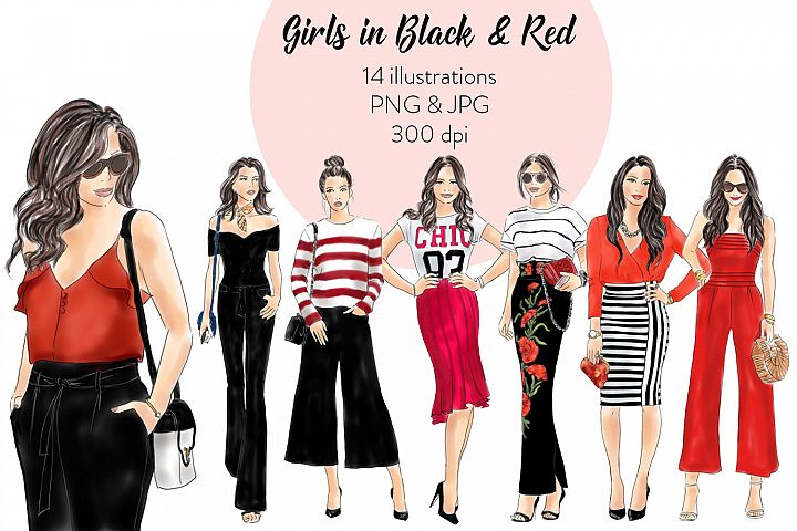 Fashion Clipart Girls in Red and Black, watercolour illustration