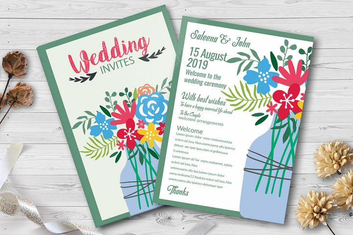 Double Sided Floral Wedding Invites Template