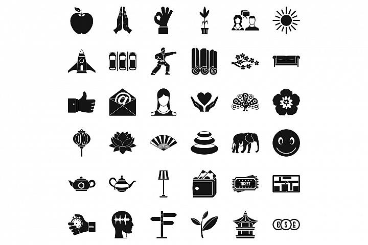Yoga meditation icons set, simple style