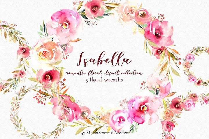 Watercolor Floral Wreaths Flowers Roses Clipart Wedding