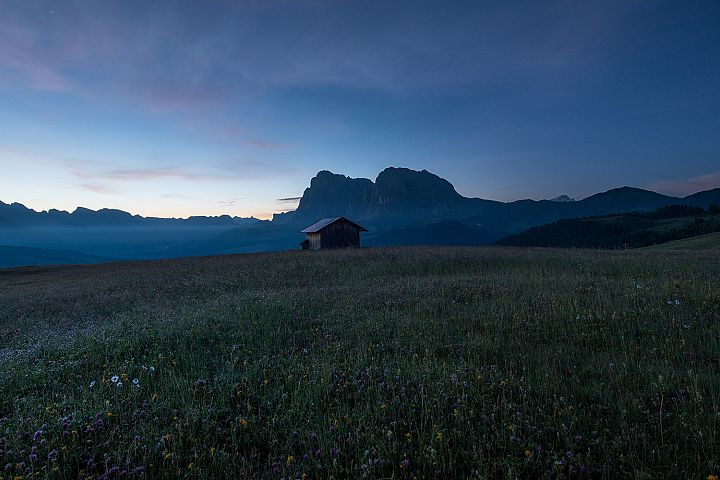Flowers and cottages at Alpe di Siusi at sundown