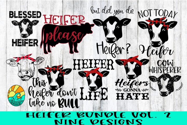 Heifer Bundle Vol 2 - Nine Designs Included - SVG PNG DXF