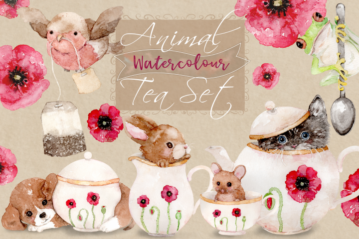 Animal Tea Set | 8 Watercolor Clipart Illustrations- PNG/JPG