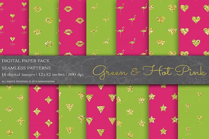 Green & Hot Pink Digital Paper, Geometric Glitter Background