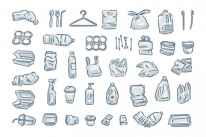 Plastic trash icon set.