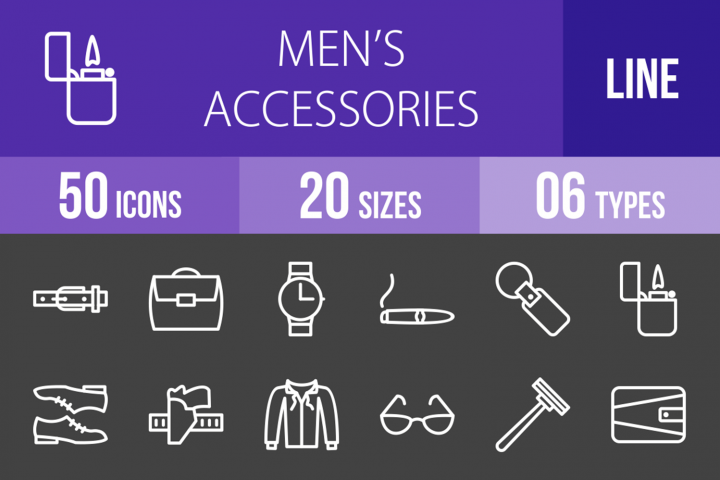 50 Mens Accessories Line Inverted Icons