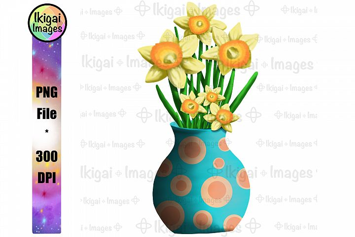 Daffodils in Vase Sublimation PNG Spring Flowers Printable