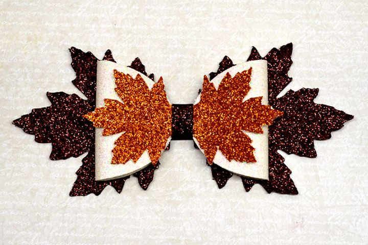 Maple Leaf Hair bow template SVG, DIY leather bow template
