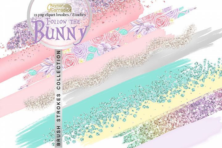Follow the Bunny - pastel paint brush strokes collection