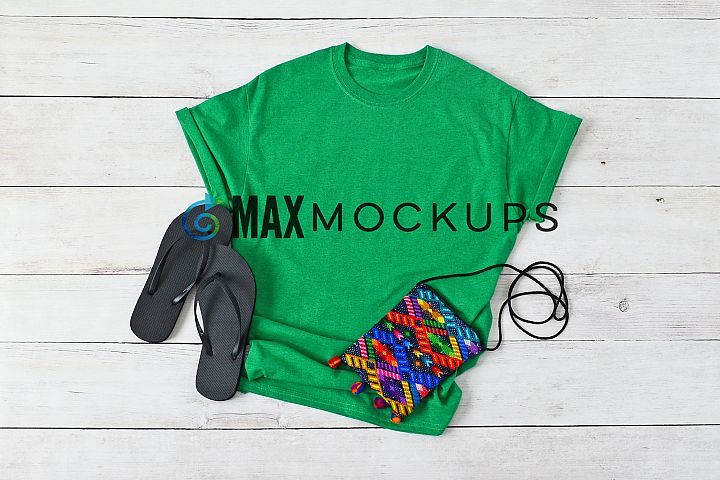Green t-shirt Mockup, flip flops, summer, styled flatlay
