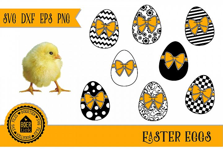 Easter eggs, bundle of 8 beautiful eggs, SVG/DXF/EPS/PNG