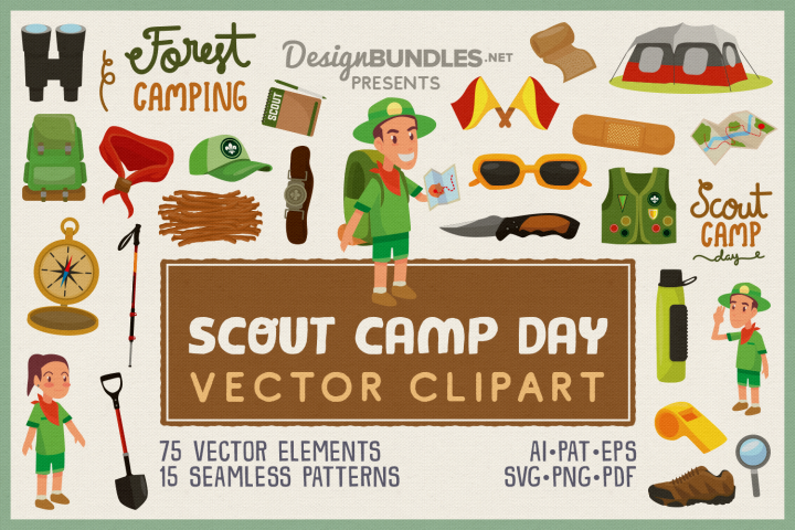 Scout Camp Day Vector Clipart and Seamless Pattern