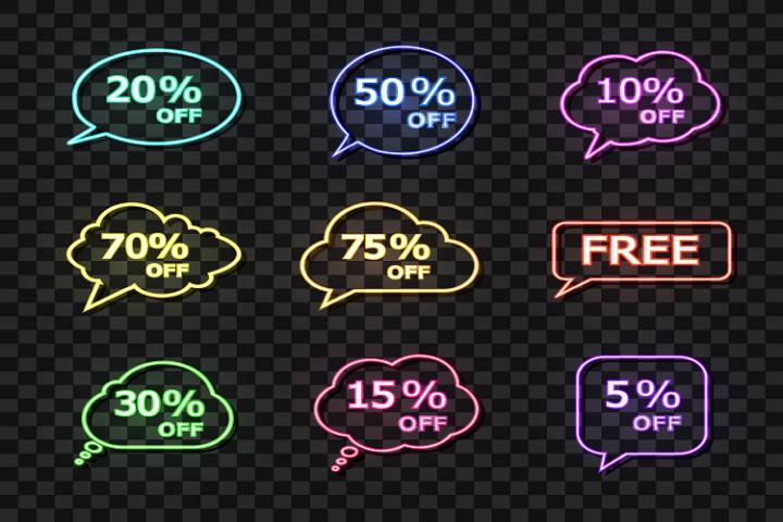 A set of neon sale bubbles